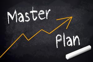 Kreidetafel mit Masterplan